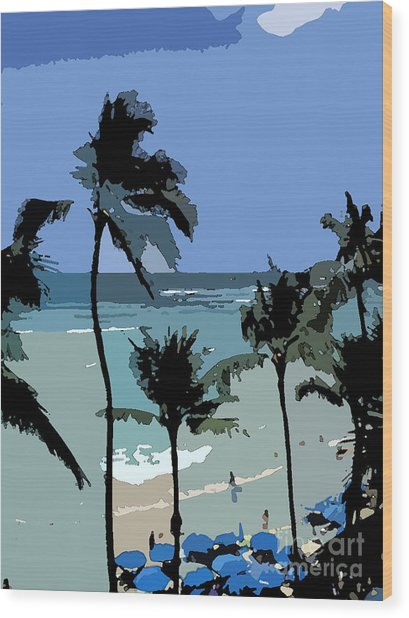 Blue Beach Umbrellas Wood Print by Karen Nicholson