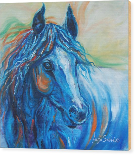 Blue Beauty Wood Print by Anju Saran