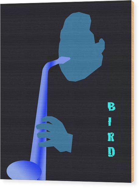 Blue Bird Wood Print by Victor Bailey