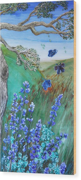 Blue Butterflies Wood Print
