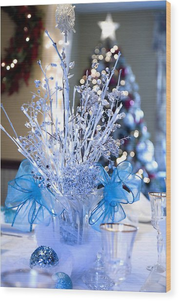Blue Christmas Wood Print by Trudy Wilkerson