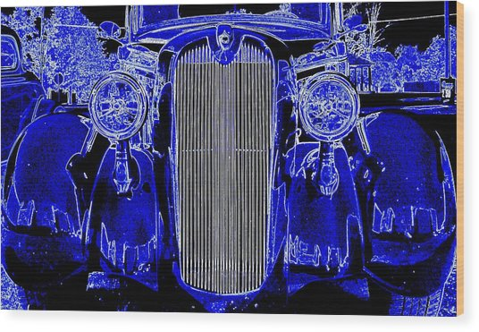 Blue Coupe Wood Print