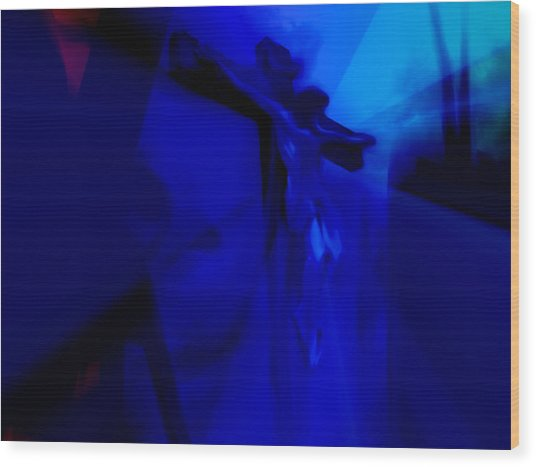 Blue Crucifixion Wood Print