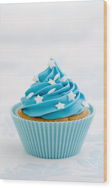 Blue Cupcake Wood Print by Ruth Black