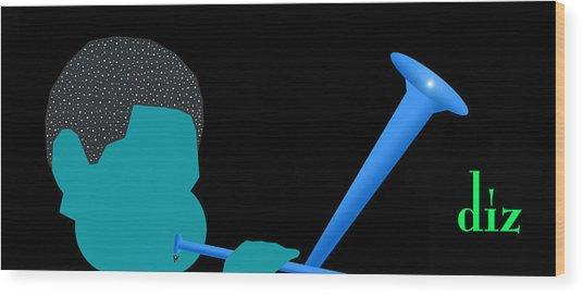 Blue Diz Wood Print by Victor Bailey