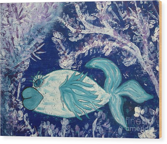 Blue Fish Called Flow Wood Print