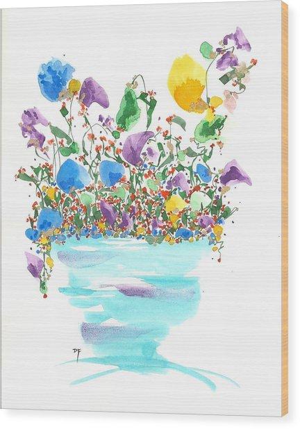 Blue Flowers And Vase Wood Print