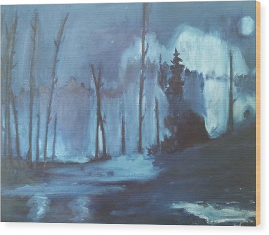 Blue Forest Wood Print by Joseph Giler