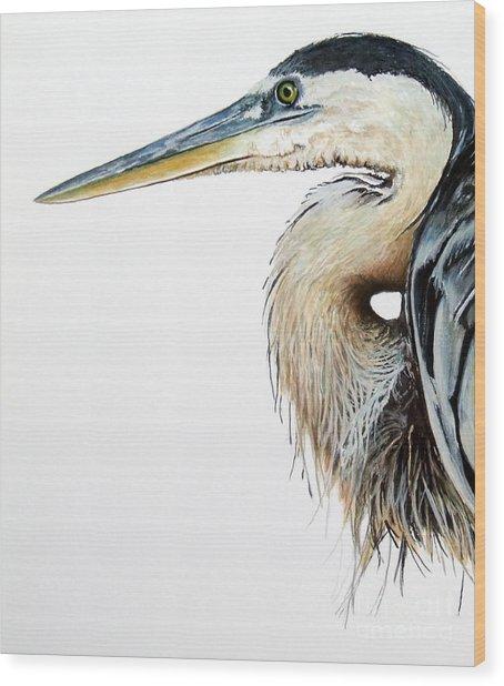 Blue Heron Study Wood Print