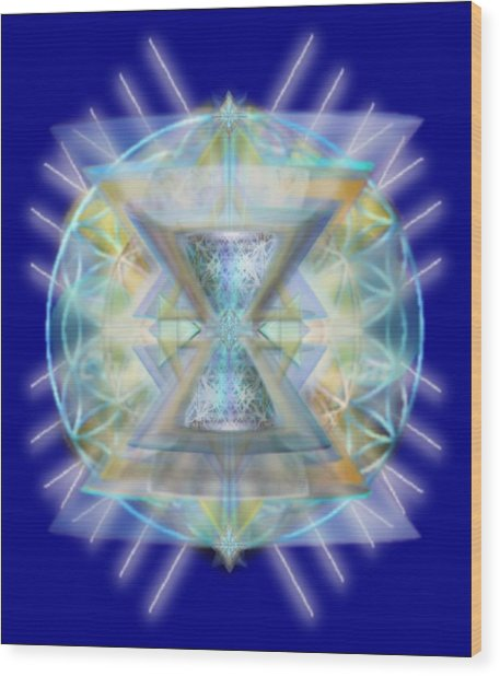 Blue High-starred Chalices On Flower Of Life Wood Print