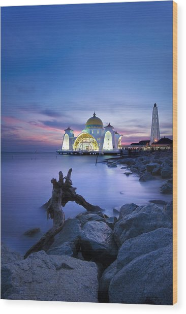 Blue Hour At The Mosque Wood Print