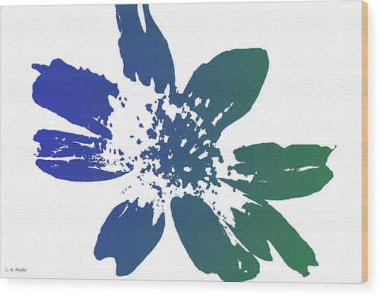 Blue In Bloom Wood Print