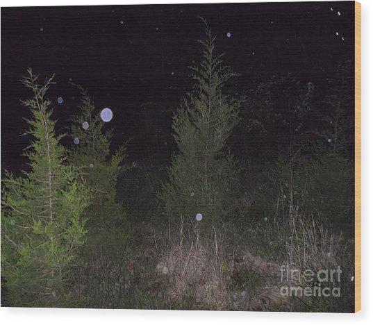 Blue In The Greenery Wood Print