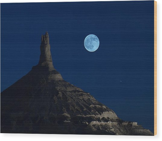 Blue Moon Over Chimney Rock Wood Print