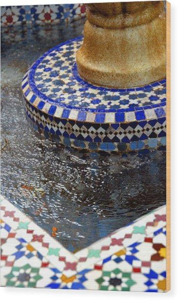 Blue Mosaic Fountain II Wood Print