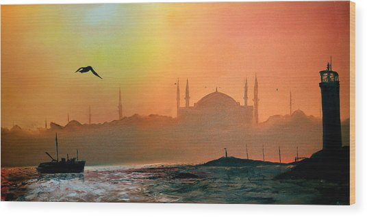 Blue Mosque At Sunset Wood Print by Rafay Zafer