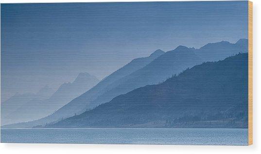 Blue Mountain Ridges Wood Print