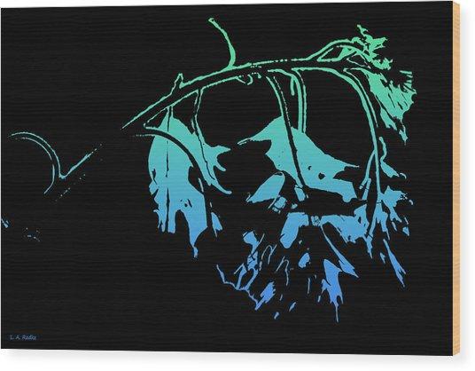 Blue On Black Wood Print
