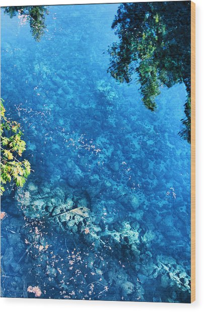 Blue Pool I Mckenzie River Oregon Wood Print