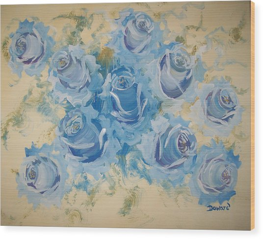 Blue Roses Abstract Wood Print
