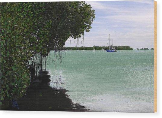 Blue Sailboat Wood Print