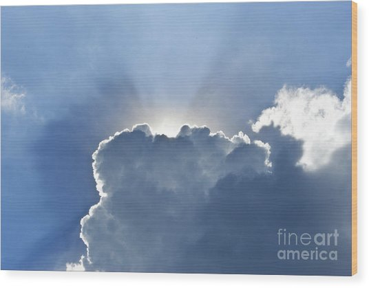 Blue Sky With Sun And Beautiful Clouds Wood Print by Jeng Suntorn niamwhan