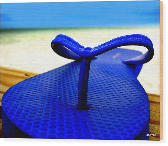 Blue Slippa Wood Print