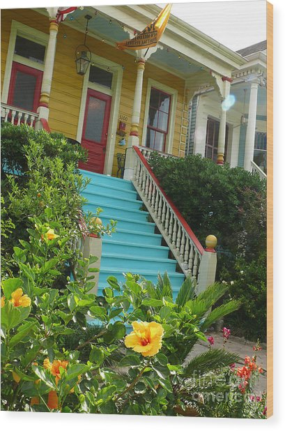 Blue Stairs Yellow House Wood Print