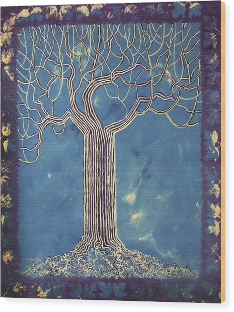 Blue Tree Wood Print by Alain  Guiguet