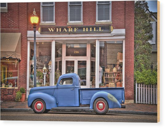Blue Truck On Main Street Wood Print