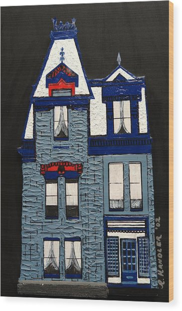 Blue Victorian Mansion Montreal Wood Print