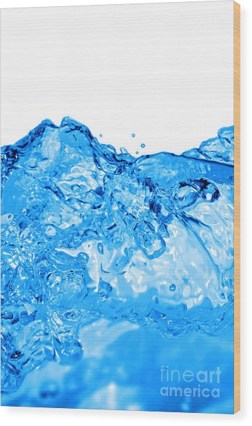 Blue Wave Wood Print by HD Connelly