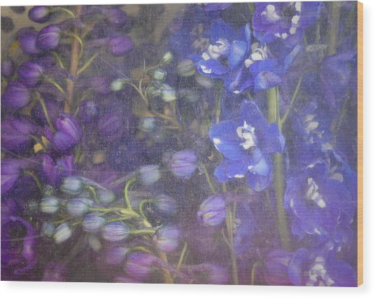 Blue Whirligig Wood Print