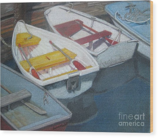 Blue Yellow And Red Boats Tremont Maine Wood Print