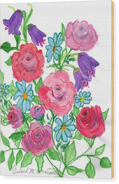 Bluebells And Roses Wood Print by Debbie Wassmann