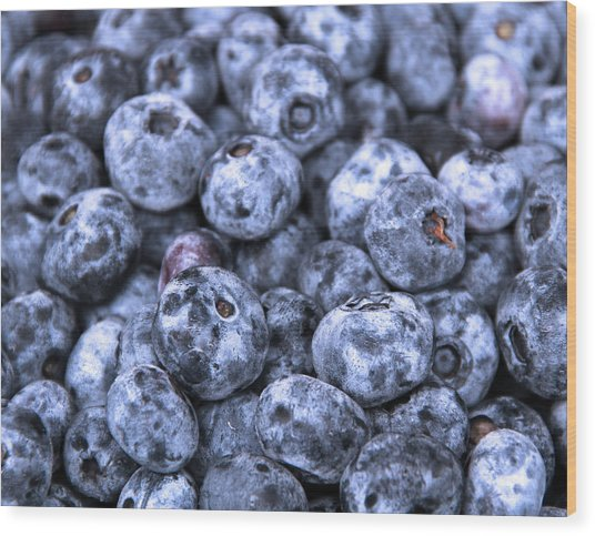 Blueberries  Wood Print by Kim French