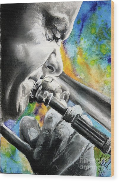 Blues Trombone 1 Wood Print