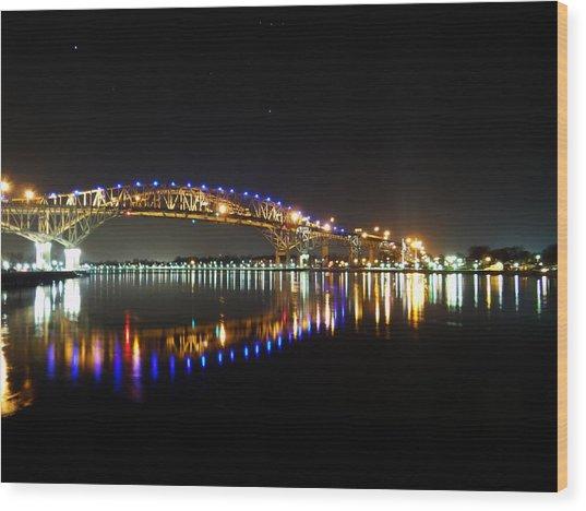 Bluewater Bridges On A Warm Spring Night Wood Print