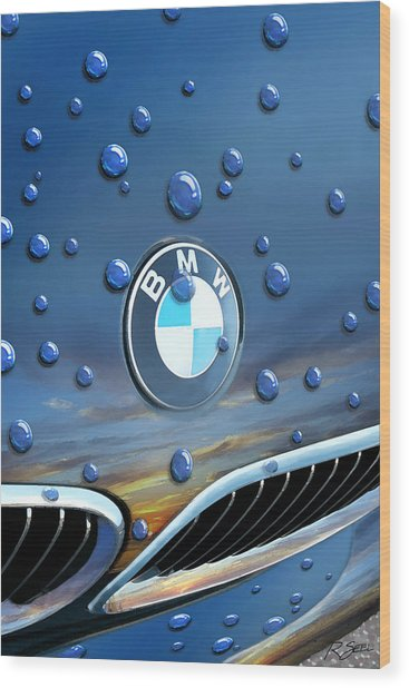 Bmw - Roundel And Raindrops Wood Print