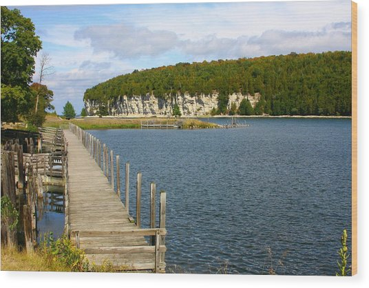 Boardwalk On A Counry Lake Wood Print by Western Roundup