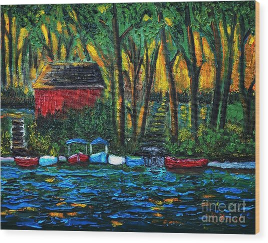 Boat Dock In The Evening Wood Print