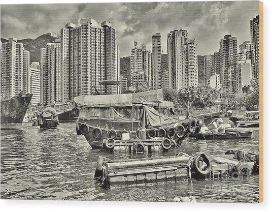 Boat Life In Hong Kong Wood Print