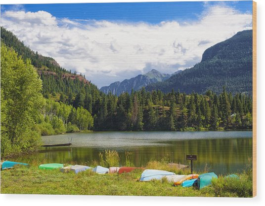 Boat Lined Lake Wood Print