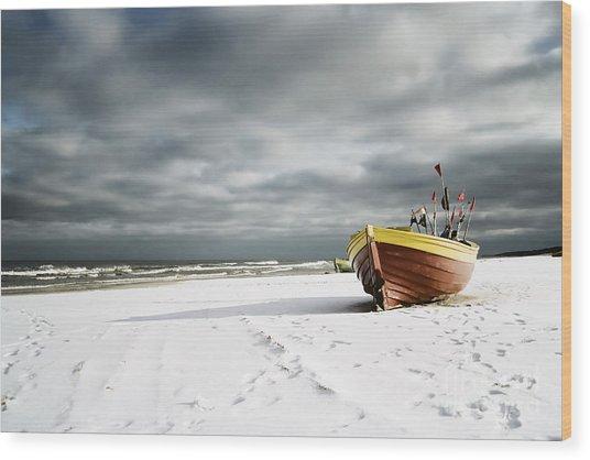 Boat On Snowy Beach Wood Print
