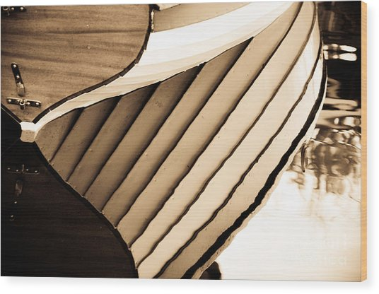 Boat Reflection Wood Print by Camille Lyver