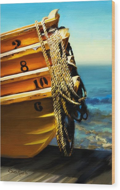 Boat Ropes Wood Print by Suni Roveto