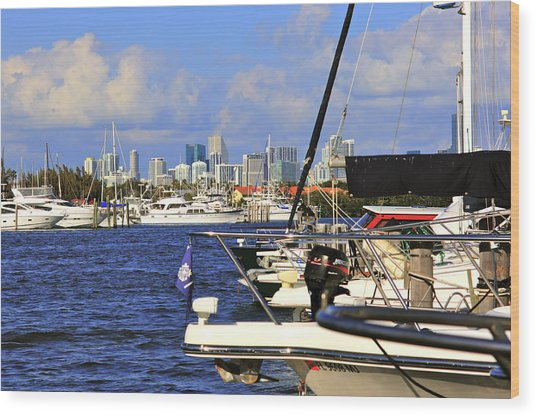 Boats And Miami Wood Print by Dieter  Lesche