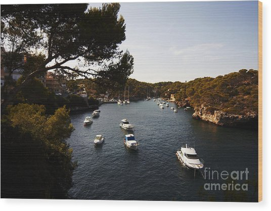 Boats In Cala Figuera Wood Print