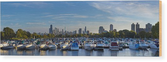 Boats In The Harbor In Chicago Wood Print
