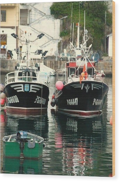 Boats Wood Print by Jenny Senra Pampin